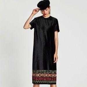 ZARA NEW Black Velvet Embroidered Midi Dress